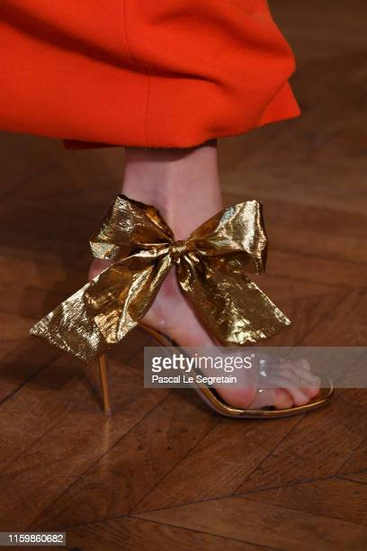 Model, shoe detail, walks the runway during the Valentino Fall/Winter 2019 2020 show as part of Paris Fashion Week on July 03, 2019 in Paris, France.