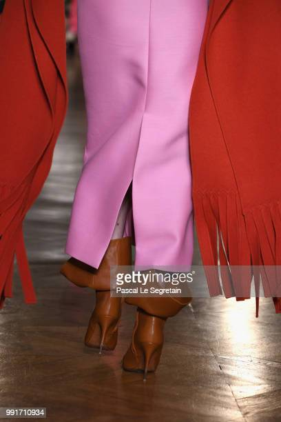 A model shoe detail walks the runway during the Valentino Haute Couture Fall Winter 2018/2019 show as part of Paris Fashion Week on July 4 2018 in...