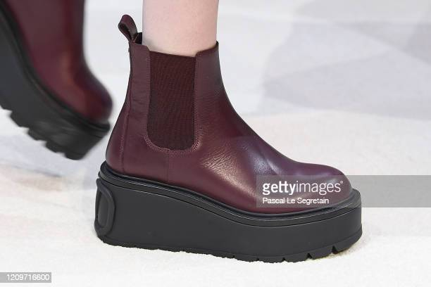 Model, shoe detail, walks the runway during the Valentino show as part of the Paris Fashion Week Womenswear Fall/Winter 2020/2021 on March 01, 2020...