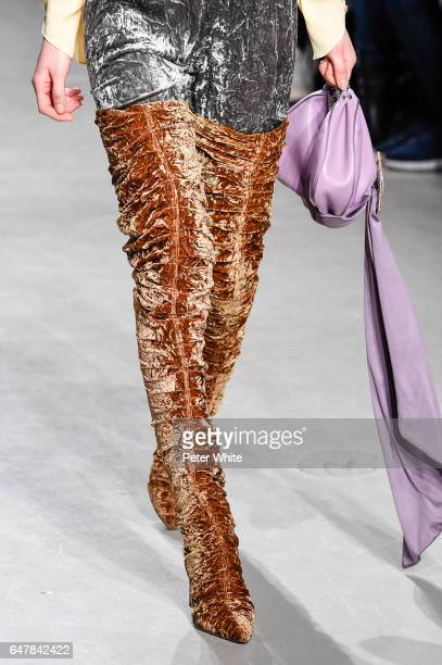 A model shoe detail walks the runway during the Veronique Leroy show as part of the Paris Fashion Week Womenswear Fall/Winter 2017/2018 on March 4...
