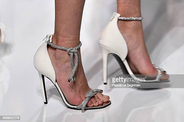 A model shoe detail walks the runway during the Versace Spring Summer 2016 show as part of Paris Fashion Week on January 24 2016 in Paris France