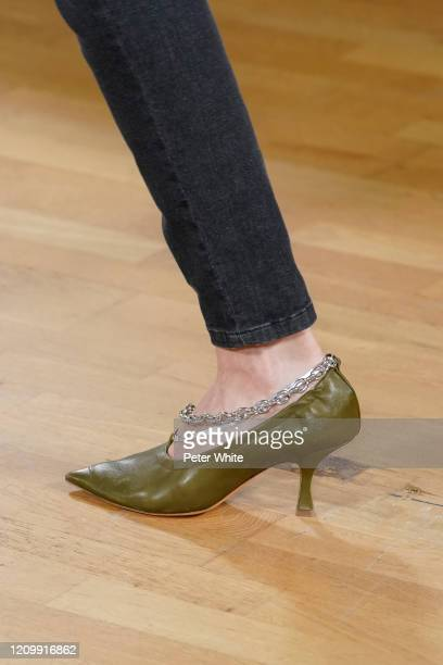 Model, shoe detail, walks the runway during the Y/Project as part of the Paris Fashion Week Womenswear Fall/Winter 2020/2021 on March 02, 2020 in...