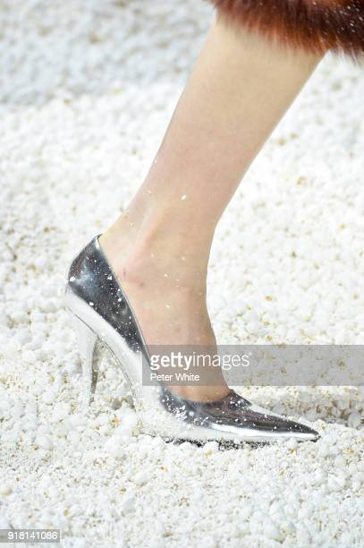 Model, shoe detail, walks the runway for Calvin Klein Collection during New York Fashion Week on February 13, 2018 in New York City.