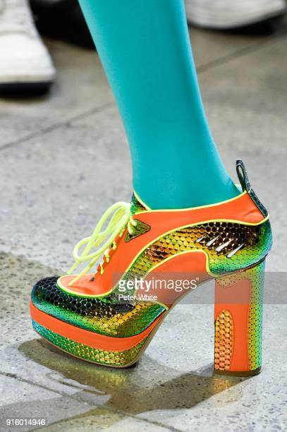 A model shoe detail walks the runway for Jeremy Scott during New York Fashion Week The Shows at Gallery I at Spring Studios on February 8 2018 in New...