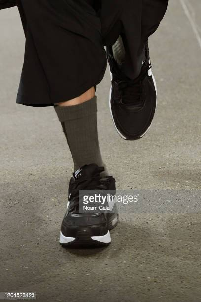 A model shoe detail walks the runway for OQLIQ during New York Fashion Week The Shows at Gallery II at Spring Studios on February 06 2020 in New York...