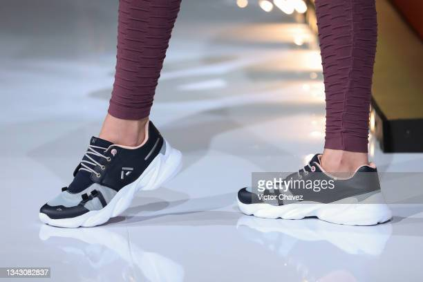 Model, shoe detail, walks the runway wearing Fall/Winter collection by Andrea at TV Azteca Ajusco on September 26, 2021 in Mexico City, Mexico.