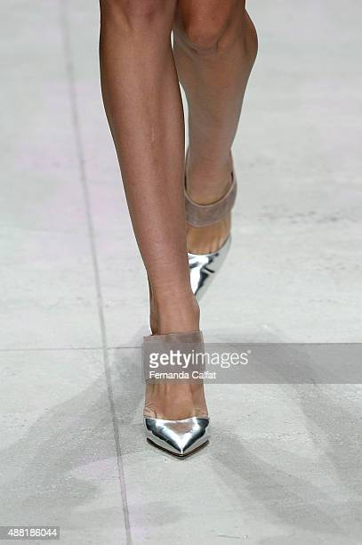 A model shoe detail walks the runway wearing Lela Rose Spring 2016 during New York Fashion Week The Shows at The Gallery Skylight at Clarkson Sq on...