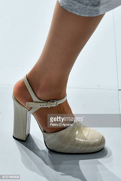 A model shoe details walks the runway at the Jil Sander show during Milan Fashion Week Spring/Summer 2017 on September 24 2016 in Milan Italy