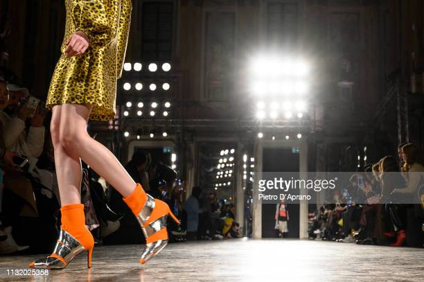 A model shoe detal walks the runway at the Ultrachic show at Milan Fashion Week Autumn/Winter 2019/20 on February 25 2019 in Milan Italy