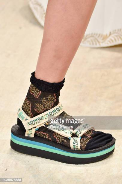 Model, shoes detail, walks the runway at Anna Sui fashion show during New York Fashion Week at Gallery I at Spring Studios on September 10, 2018 in...