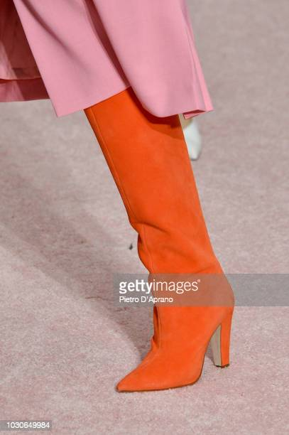 A model shoes detail walks the runway at Carolina Herrera fashion show during New York Fashion Week on September 10 2018 in New York City