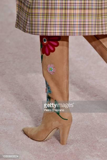 Model, shoes detail, walks the runway at Carolina Herrera fashion show during New York Fashion Week on September 10, 2018 in New York City.