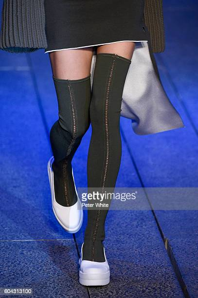 A model shoes detail walks the runway at DKNY Women's Fashion Show during New York Fashion Week at High Line on September 12 2016 in New York City