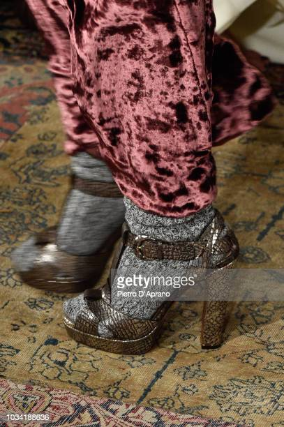 A model shoes detail walks the runway at Ralph Lauren fashion show during New York Fashion Week on September 7 2018 in New York City