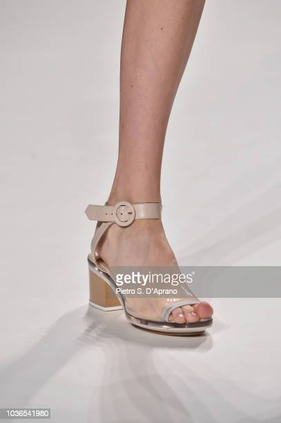 A model shoes detail walks the runway at the Anteprima show during Milan Fashion Week SS 2019 on September 20 2018 in Milan Italy