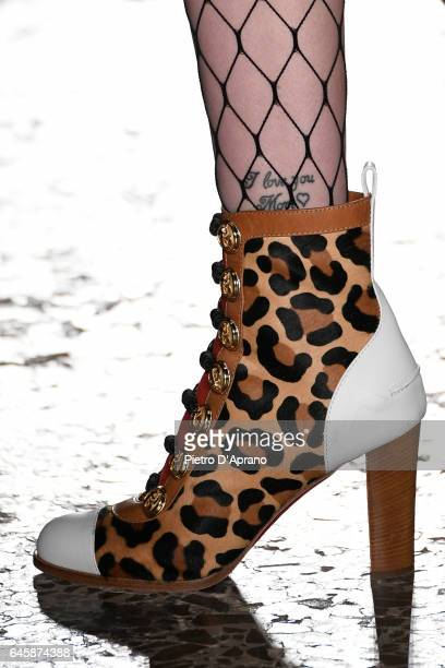 A model shoes detail walks the runway at the Daizy Shely show during Milan Fashion Week Fall/Winter 2017/18 on February 27 2017 in Milan Italy