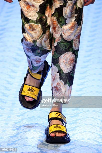 A model shoes detail walks the runway at the Dolce Gabbana show during Milan Men's Fashion Week Spring/Summer 2019 on June 16 2018 in Milan Italy