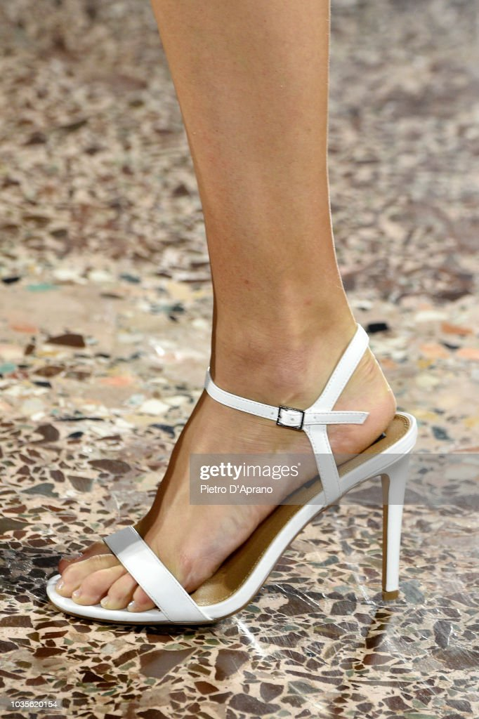 A model shoes detail walks the runway at the Luisa Spagnoli show during Milan Fashion Week Spring/Summer 2019 on September 18 2018 in Milan Italy