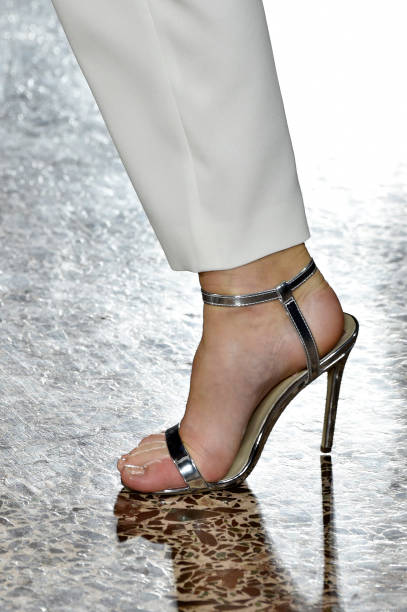 A model shoes detail walks the runway at the Luisa Spagnoli show during Milan Fashion Week Spring/Summer 2019 on September 18 2018 in Milan Italy