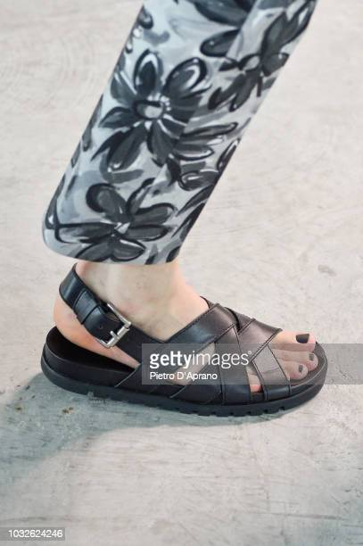 Model, shoes detail, walks the runway at the Michael Kors Ready to Wear Spring/Summer 2019 fashion show during New York Fashion Week on walks the...