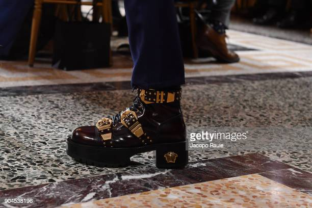 A model shoes detail walks the runway at the Versace show during Milan Men's Fashion Week Fall/Winter 2018/19 on January 13 2018 in Milan Italy