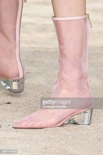A model shoes detail walks the runway during the Chanel Haute Couture Spring Summer 2018 show as part of Paris Fashion Week on January 23 2018 in...