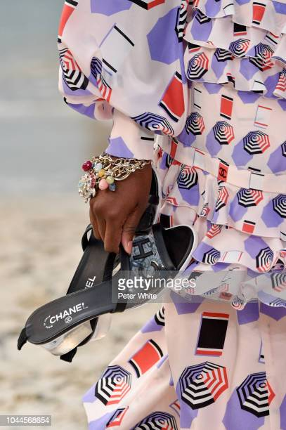 A model shoes detail walks the runway during the Chanel show as part of the Paris Fashion Week Womenswear Spring/Summer 2019 on October 2 2018 in...
