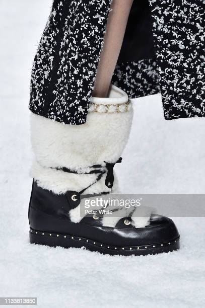 A model shoes detail walks the runway during the Chanel show as part of the Paris Fashion Week Womenswear Fall/Winter 2019/2020 on March 05 2019 in...