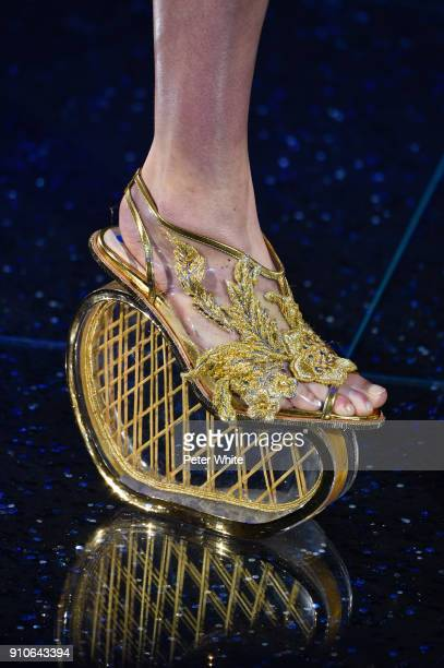 Model, shoes detail, walks the runway during the Guo Pei Spring Summer 2018 show as part of Paris Fashion Week on January 24, 2018 in Paris, France.