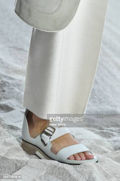 A model shoes detail walks the runway during the Hermes show as part of the Paris Fashion Week Womenswear Spring/Summer 2019 on September 29 2018 in...