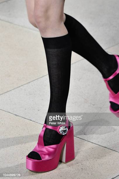 A model shoes detail walks the runway during the Miu Miu show as part of the Paris Fashion Week Womenswear Spring/Summer 2019 on October 2 2018 in...