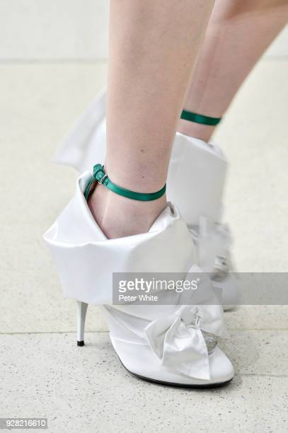 A model shoes detail walks the runway during the Miu Miu show as part of the Paris Fashion Week Womenswear Fall/Winter 2018/2019 on March 6 2018 in...
