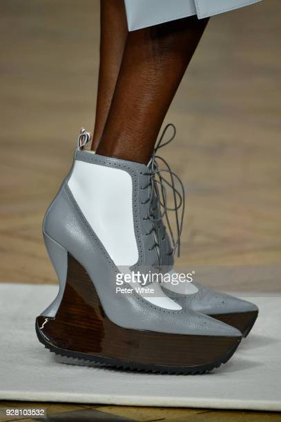 A model shoes detail walks the runway during the Thom Browne show as part of the Paris Fashion Week Womenswear Fall/Winter 2018/2019 on March 4 2018...