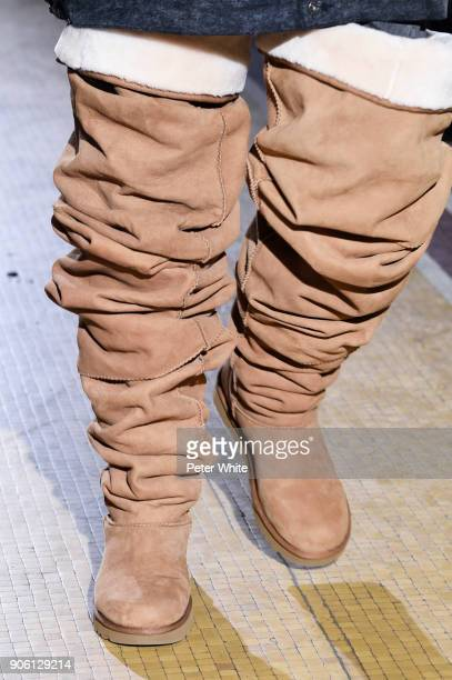 A model shoes detail walks the runway during the Y/Project Menswear Fall/Winter 20182019 show as part of Paris Fashion Week on January 17 2018 in...