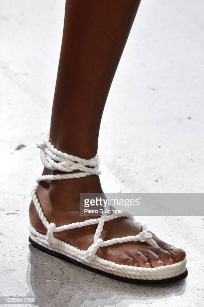 Model, shoes detail, walks the runway for Milly by Michelle Smith during New York Fashion Week: The Shows at Gallery II at Spring Studios on...