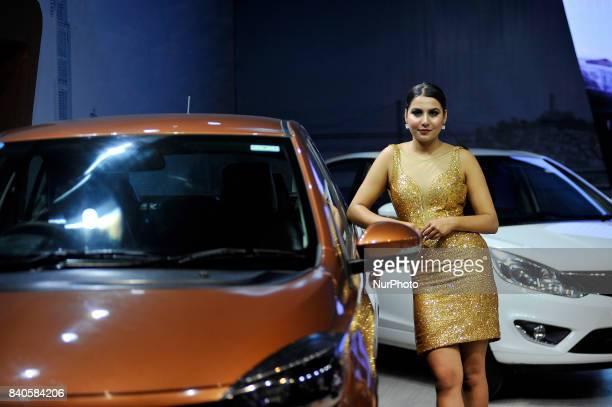 A model showcase Car at the 12th Annual Nepals biggest NADA Auto at Bhikuti Mandap Kathmandu Nepal on Tuesday August 29 2017