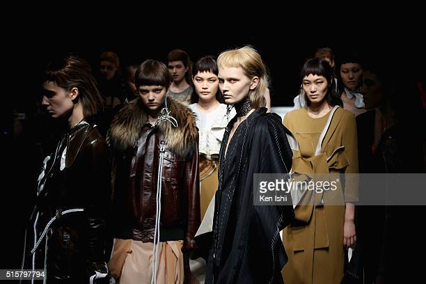 Model showcase designs on the runway during the Anne Sofie Madsen show as a part of Mercedes Benz Fashion Week TOKYO A/W 2016/2017 at Shibuya Hikarie...