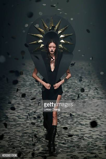 Model showcase designs on the runway during the Gareth Pugh Collection show during Mercedes-Benz China Fashion Week Spring/Summer 2017 at 751D park...