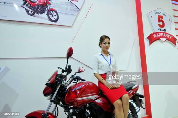 A model showcase Hero Acheiver 150 at the 12th Annual Nepals biggest NADA Auto at Bhikuti Mandap Kathmandu Nepal on Tuesday August 29 2017