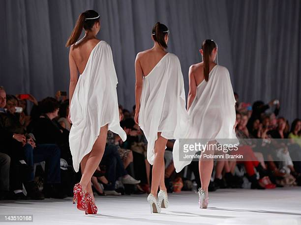 Model showcase shoe designs by Sistar on the runway during Fashion Palette 2012 at Carriageworks on April 28, 2012 in Sydney, Australia.