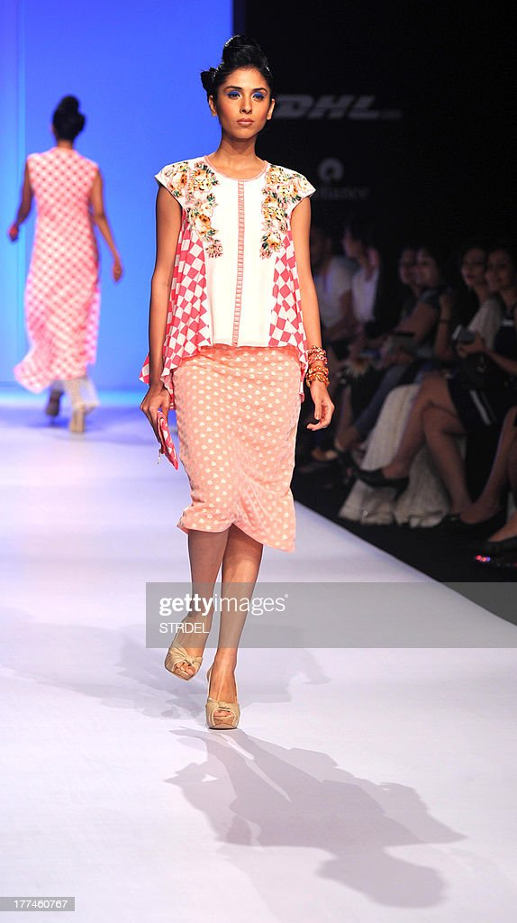 A model showcases a creation by designer Ranna Gill during a fashion show on the first day of the Lakme Fashion Week (LFW) Winter/Festival 2013 in Mumbai on August 23, 2013.