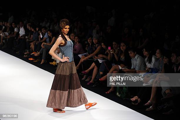Model showcases a creation by Indian designer Asmita Marwa on the third day of Lakme Fashion Week Summer/Resort 2010 in Mumbai on March 7, 2010. The...
