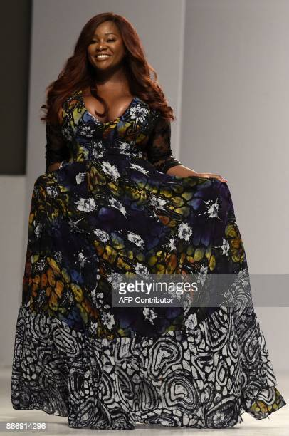 A model showcases a creation from Norsi ' About That Curvy Life' at Lagos Fashion and Design Week in Lagos on October 26 2017 The yearly Lagos...