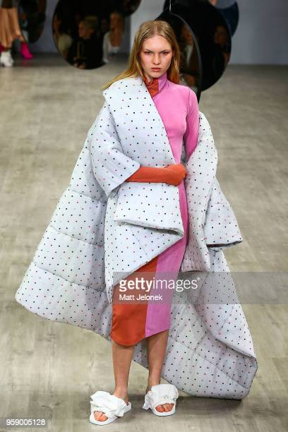 A model showcases a design by Acler at MercedesBenz Fashion Week Resort 19 Collections at Carriageworks on May 16 2018 in Sydney Australia
