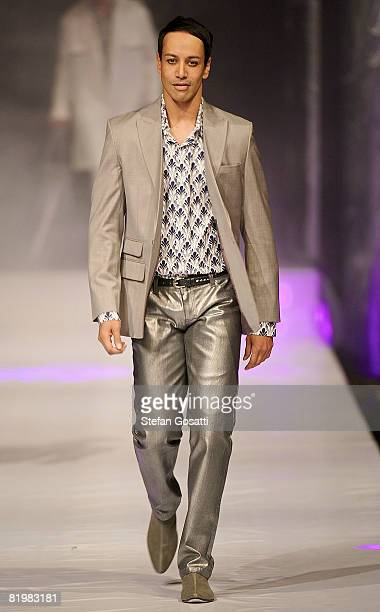 Model showcases a design by Ae'lkemi on the catwalk during the StyleAid Perth Fashion Event 2008 at the Burswood Entertainment Complex on July 18,...