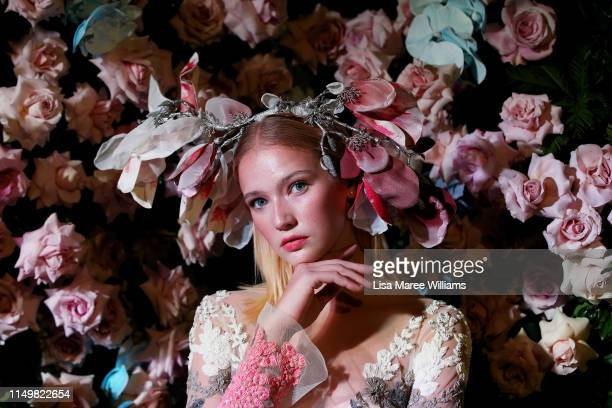 Model showcases a design by Alin Le Kal during the Fashion Palette 10th Anniversary Event on May 17, 2019 in Sydney, Australia.