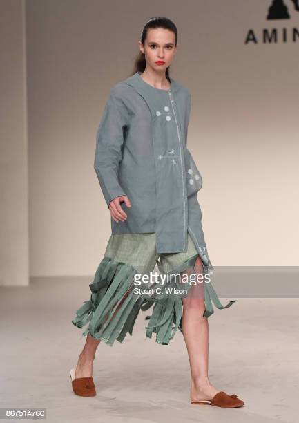 A model showcases a design by Amine Bendriouich Unisex during Fashion Forward October 2017 held at the Dubai Design District on October 28 2017 in...
