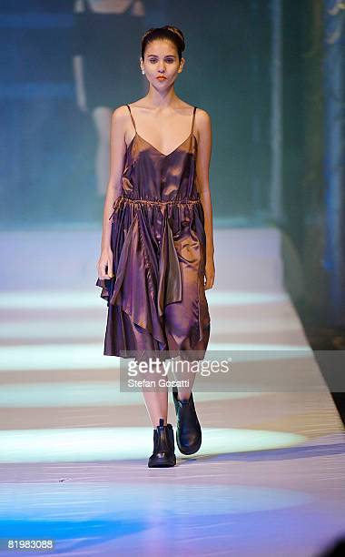 Model showcases a design by Antipodium on the catwalk during the StyleAid Perth Fashion Event 2008 at the Burswood Entertainment Complex on July 18,...