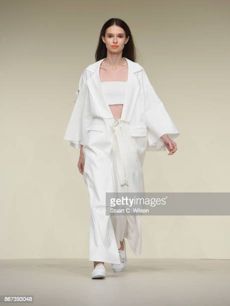A model showcases a design by Asya Krasnaya during Fashion Forward October 2017 held at the Dubai Design District on October 28 2017 in Dubai United...