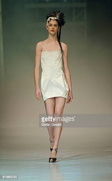 Model showcases a design by Aurelio Costarella on the catwalk during the StyleAid Perth Fashion Event 2008 at the Burswood Entertainment Complex on...